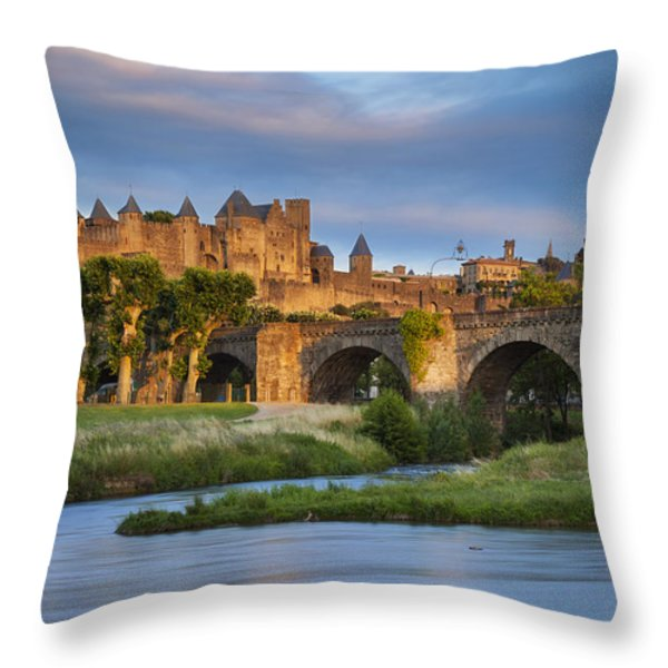 Sunset over Carcassonne Throw Pillow by Brian Jannsen