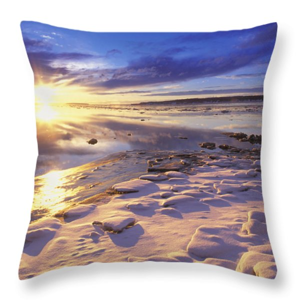 Sunset Over Knik Arm & Six Mile Creek Throw Pillow by Michael DeYoung