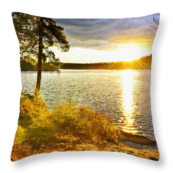 Sunset Over Lake Throw Pillow by Elena Elisseeva