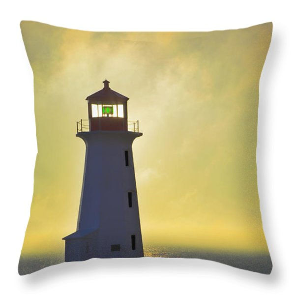 Sunset Over Peggys Cove Lighthouse Throw Pillow by Thomas Kitchin & Victoria Hurst