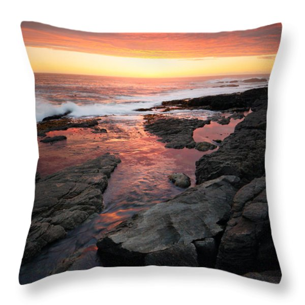 Sunset over rocky coastline Throw Pillow by Johan Swanepoel
