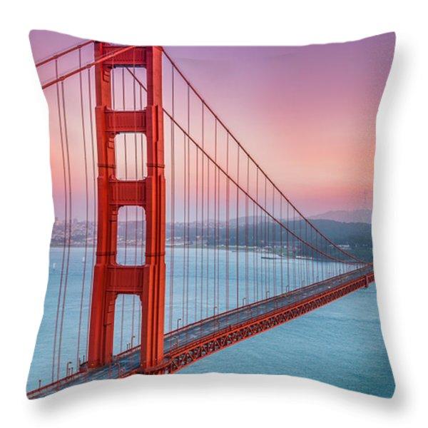 Sunset Over The Golden Gate Bridge Throw Pillow by Sarit Sotangkur