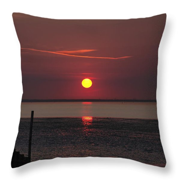 Sunset Over The Hampshire Coast Throw Pillow by Rod Johnson