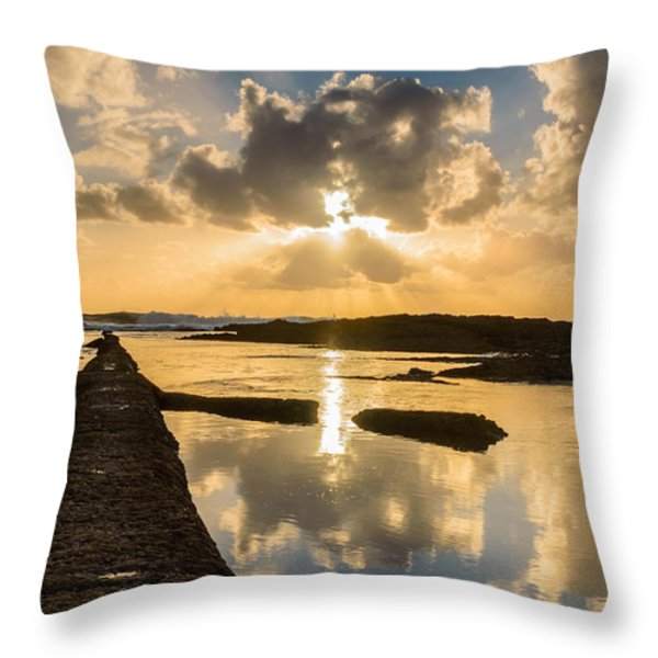 Sunset Over The Ocean I Throw Pillow by Marco Oliveira