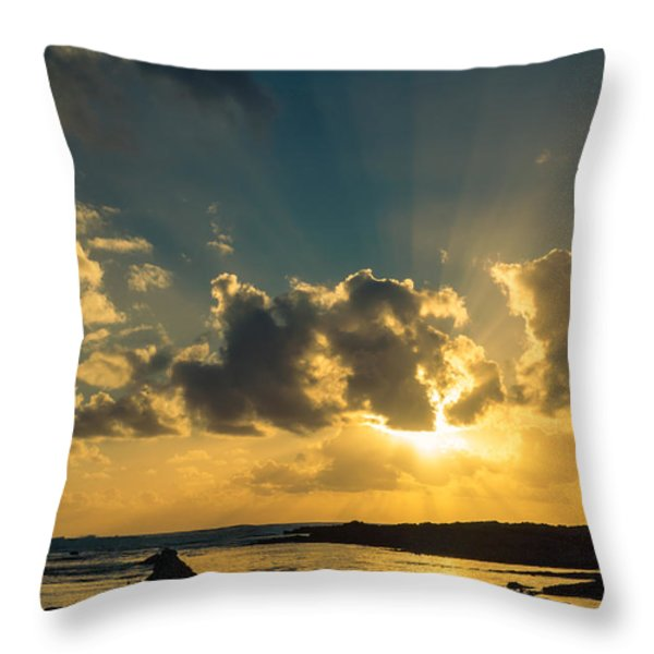 Sunset Over The Ocean IV Throw Pillow by Marco Oliveira