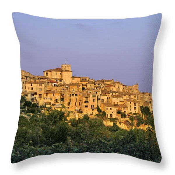 Sunset over Vieux Nice - Old Town - France Throw Pillow by Christine Till