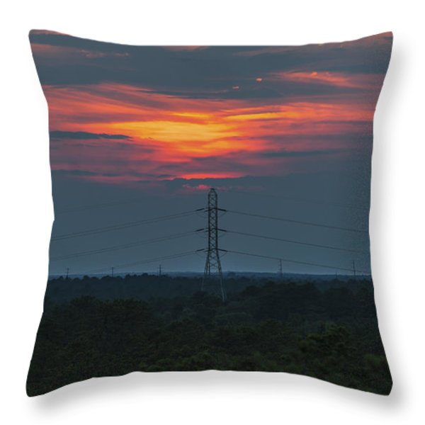 Sunset Power Over Pine Barrens NJ Throw Pillow by Terry DeLuco