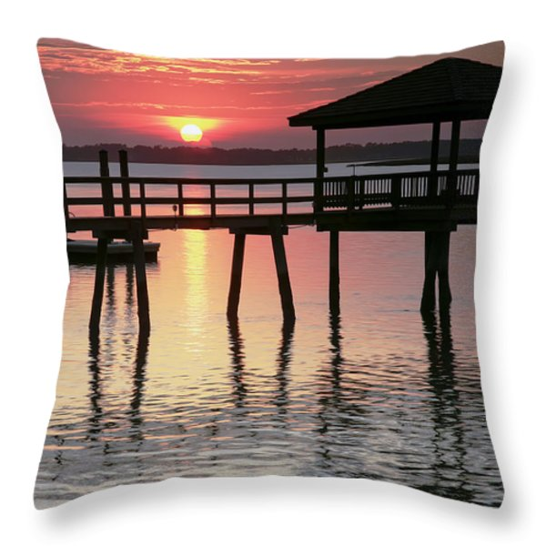 Sunset Reflections Throw Pillow by Phill  Doherty