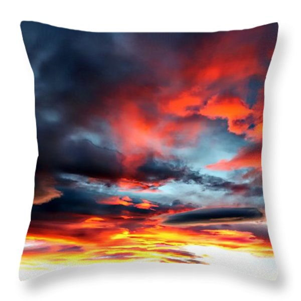 Sunset Sky Melts Into The Sangre De Cristo Mountains Throw Pillow by Barbara Chichester