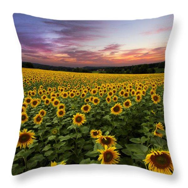 Sunset Sunflowers Throw Pillow by Debra and Dave Vanderlaan