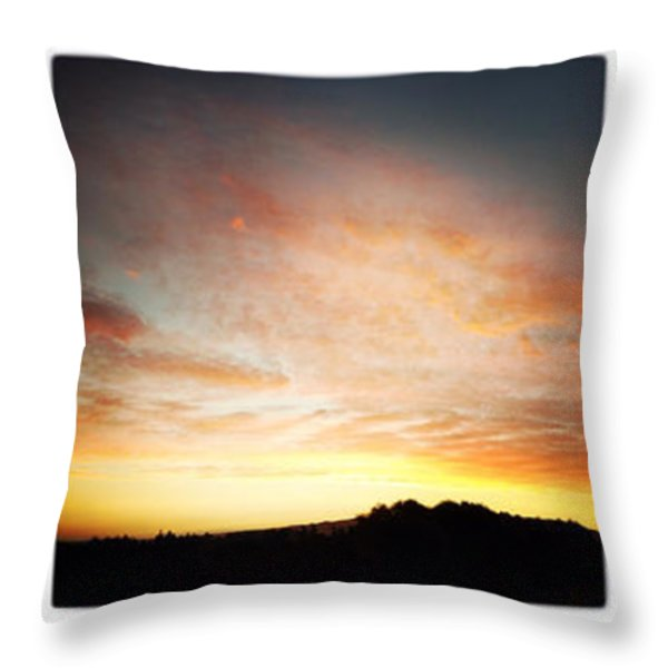 Sunset triptych Throw Pillow by Les Cunliffe