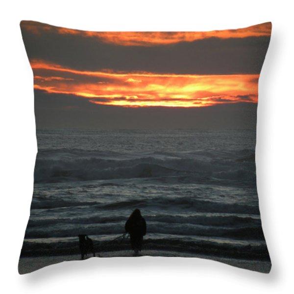 Sunset Walk Throw Pillow by David Quist