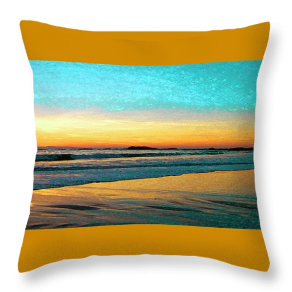 Sunset With Birds Throw Pillow by Ben and Raisa Gertsberg