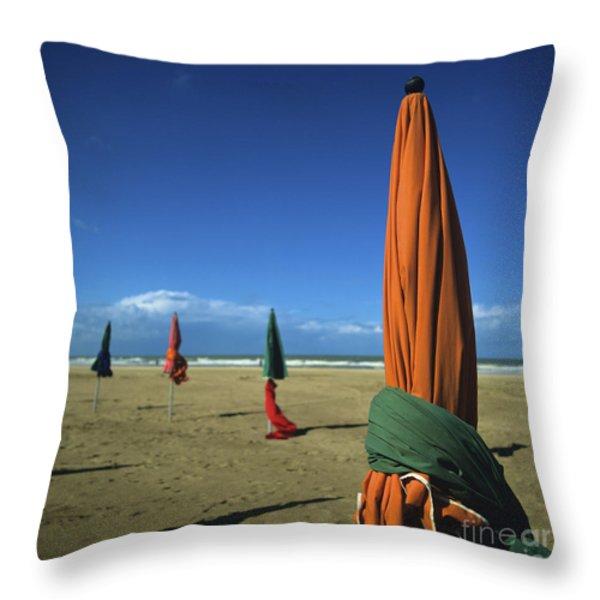 Sunshade On The Beach. Deauville. Normandy. France Throw Pillow by Bernard Jaubert