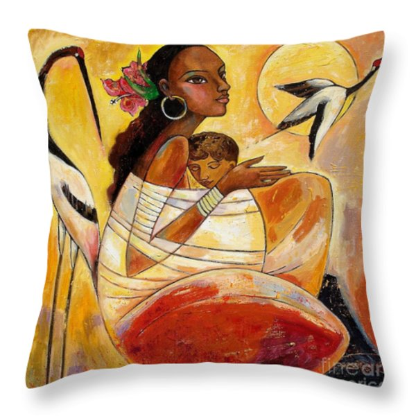 Sunshine Mother And Child Throw Pillow by Shijun Munns