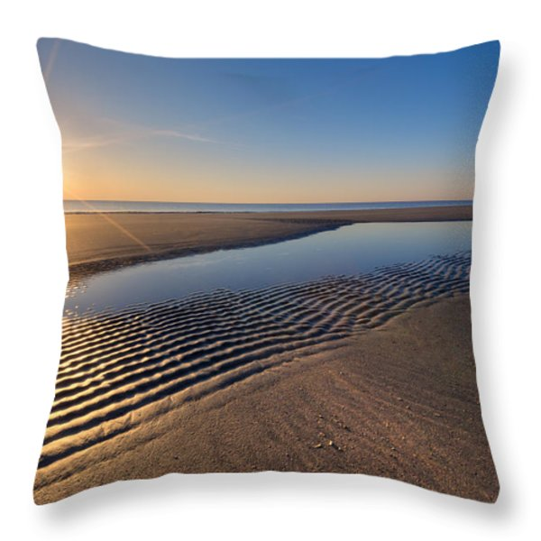 Sunshine on the Beach Throw Pillow by Debra and Dave Vanderlaan