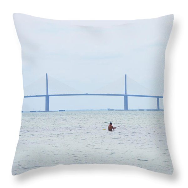 Sunshine Skyway Bridge Throw Pillow by Bill Cannon