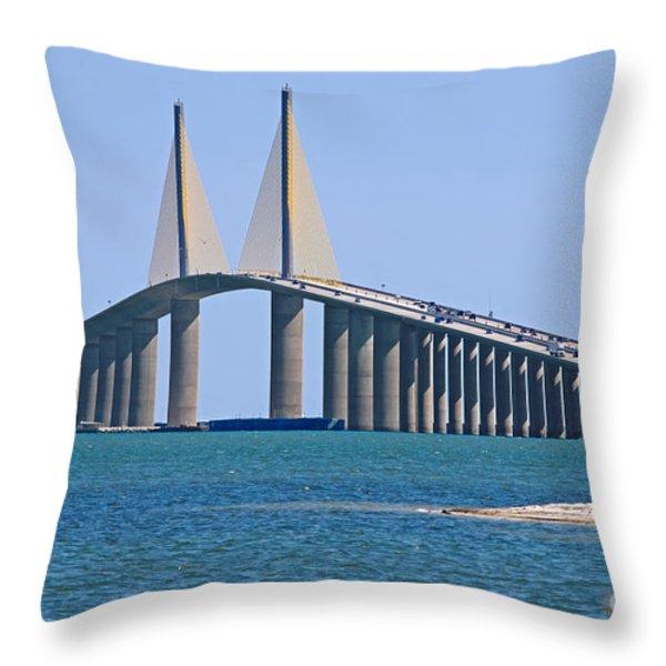 Sunshine Skyway Bridge Throw Pillow by Delmas Lehman