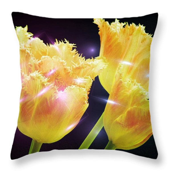 Sunshine Tulips Throw Pillow by Debra  Miller