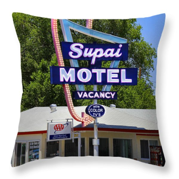 Supai Motel - Seligman Throw Pillow by Mike McGlothlen