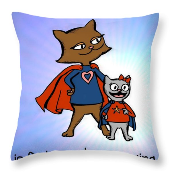 Super Mom and Daughter Throw Pillow by Pet Serrano