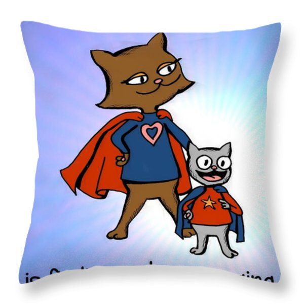 Super Mom and Son Throw Pillow by Pet Serrano