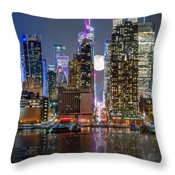 Super Moon At 42nd Street Throw Pillow by Eduard Moldoveanu