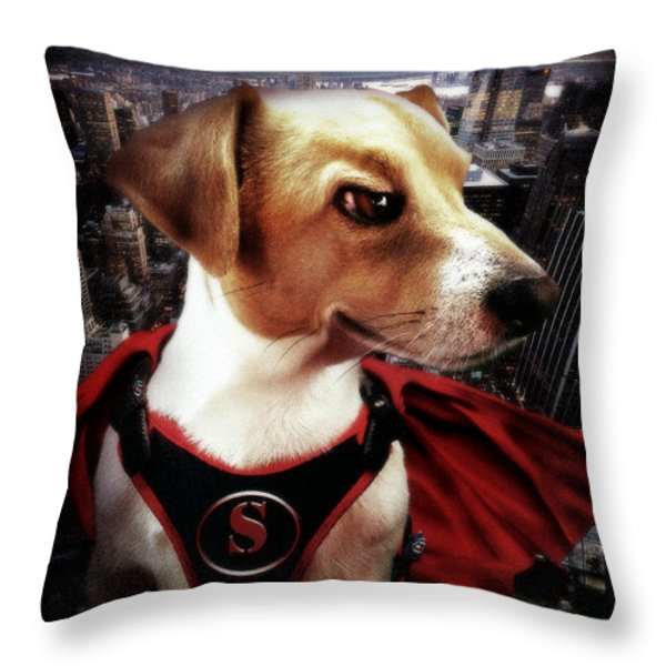 Superdog Throw Pillow by Alessandro Della Pietra
