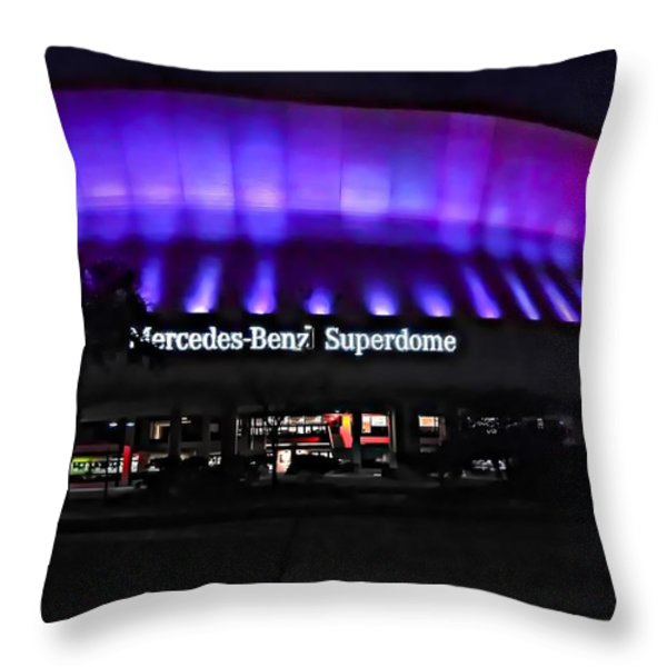 Superdome Night Throw Pillow by Steve Harrington
