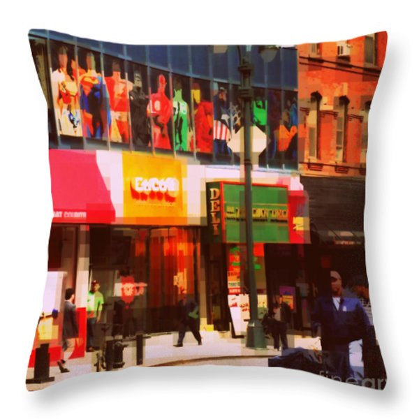 Superheroes Of New York - Midtown In Gotham City Throw Pillow by Miriam Danar