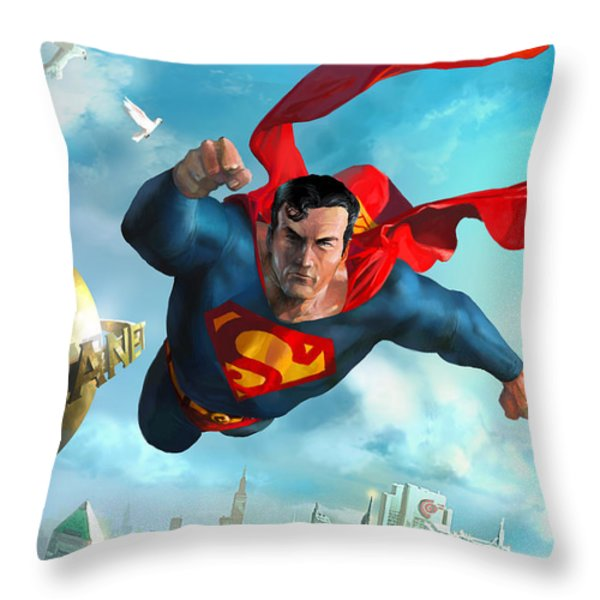 Superman Over Metropolis Throw Pillow by Ryan Barger