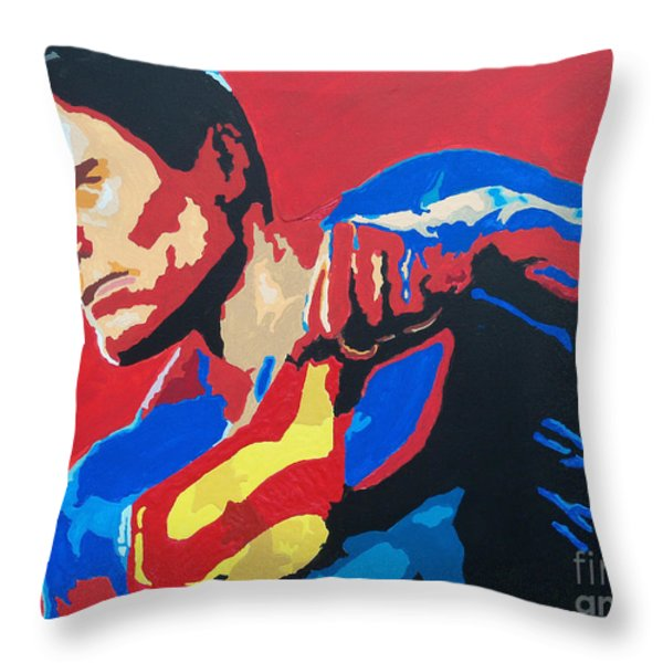 Superman - Red Sky Throw Pillow by Kelly Hartman