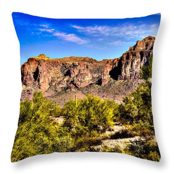 Superstition Mountain Arizona Throw Pillow by  Bob and Nadine Johnston