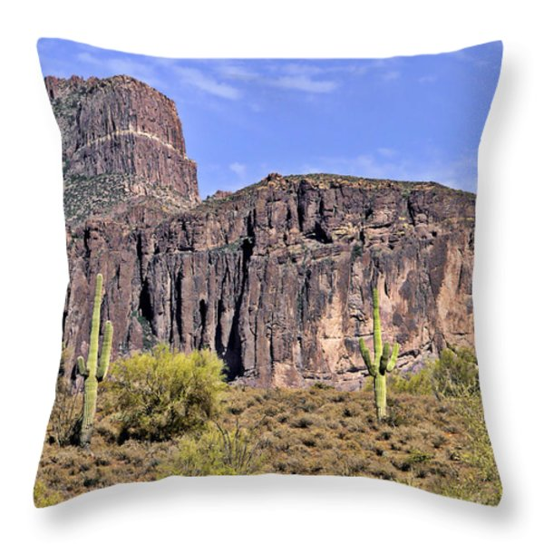 Superstition Wilderness Arizona Throw Pillow by Christine Till