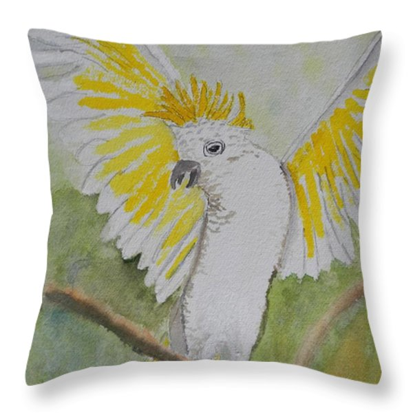 Suphar Crested Cockatoo Throw Pillow by Pamela  Meredith
