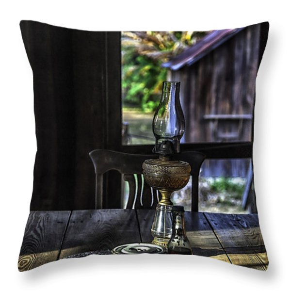 Suppertime In A 1850s Cracker Kitchen Throw Pillow by Lynn Palmer