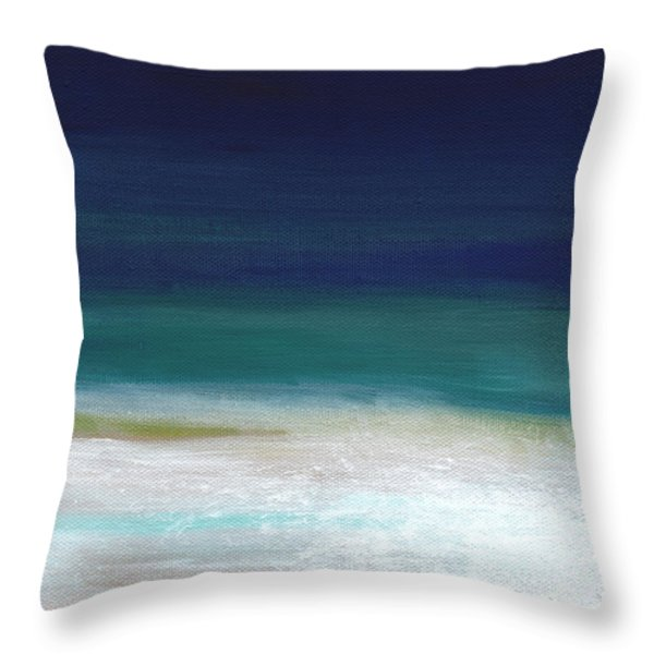 Surf and Sky- abstract beach painting Throw Pillow by Linda Woods