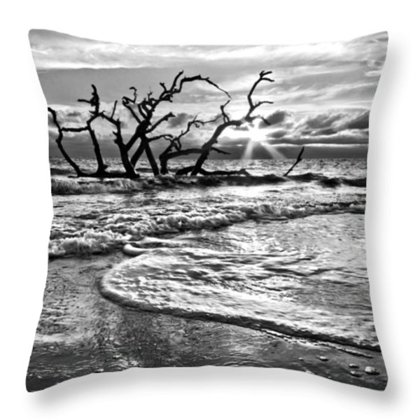 Surf at Driftwood Beach Throw Pillow by Debra and Dave Vanderlaan
