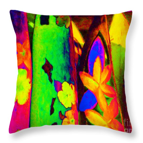Surf Boards v2 Throw Pillow by Wingsdomain Art and Photography