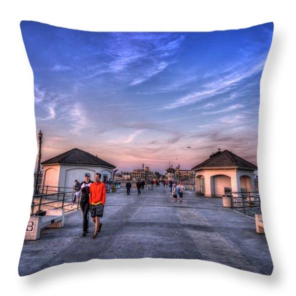 Surf City Pier Throw Pillow by Spencer McDonald