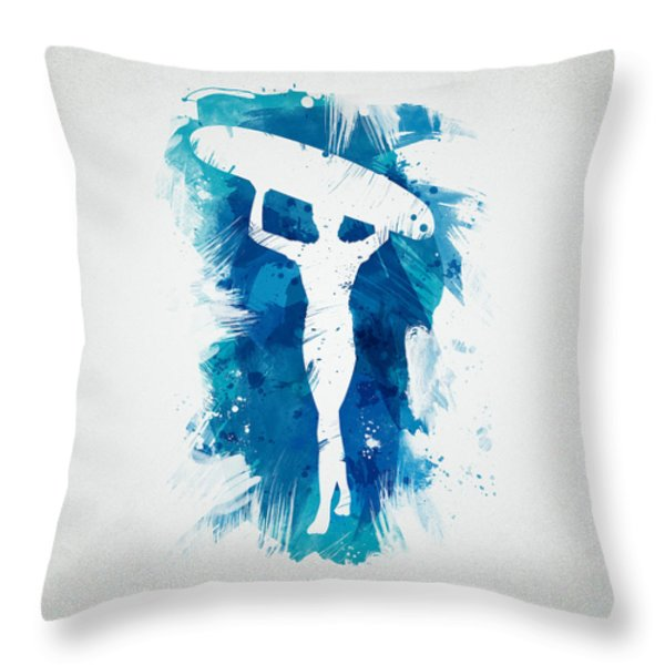 Surfer Girl Throw Pillow by Aged Pixel