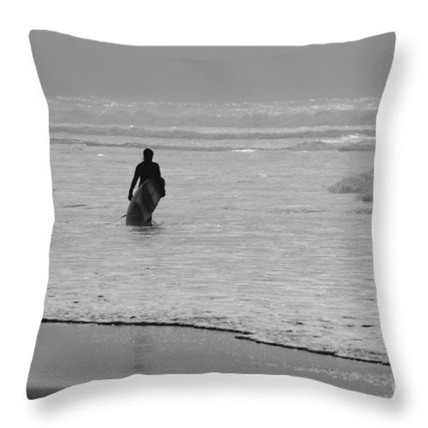 Surfer In The Mist Throw Pillow by Terri  Waters