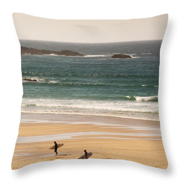 Surfers On Beach 01 Throw Pillow by Pixel Chimp