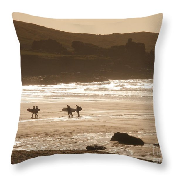 Surfers On Beach 02 Throw Pillow by Pixel Chimp