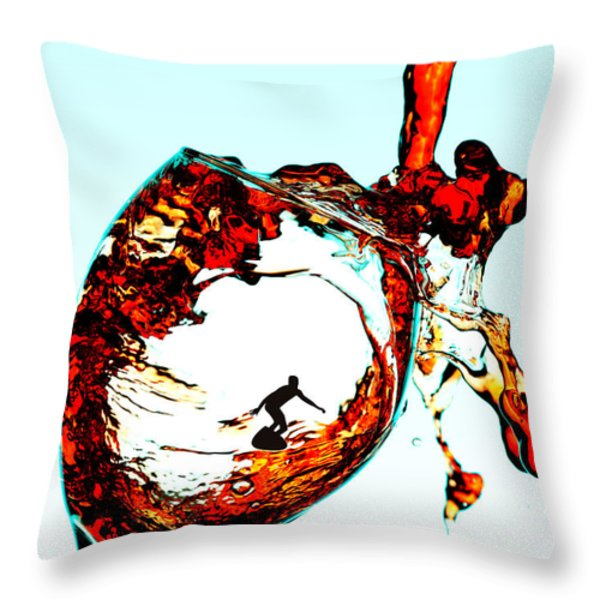 Surfing In A Cup Of Wine Little People On Food Throw Pillow by Paul Ge