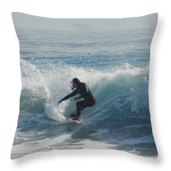 Surfing In The Sun Throw Pillow by Donna Blackhall