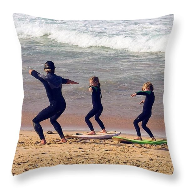 Surfing Lesson Throw Pillow by Stuart Litoff