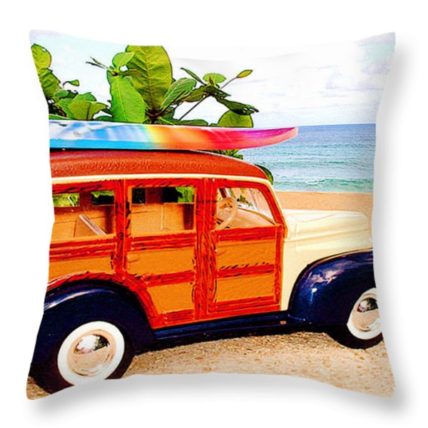 Surf's Up Throw Pillow by Jerome Stumphauzer