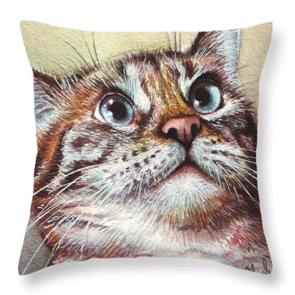 Surprised Kitty Throw Pillow by Olga Shvartsur