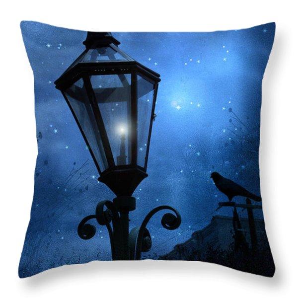 Surreal Fantasy Gothic Blue Night Lantern With Ravens - Starry Night Surreal Lantern Blue Moon Throw Pillow by Kathy Fornal